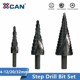 cone drill bits UK - XCAN HSS Step Drill Bit Set 4-12 20-32mm Nirtird Coated Spiral Groove Wood Metal Hole Cutter Step Cone Drill Bit 3WxI#