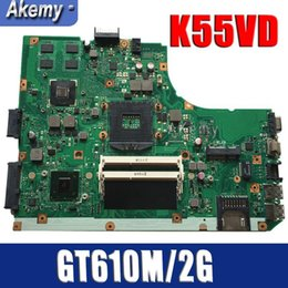 Discount asus motherboard lga Amazoon K55VD Laptop motherboard For Asus K55VD K55A A55VD F55VD K55V K55 Test original mainboard Support for CPU