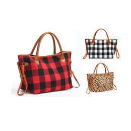 Wholesale amazon women clothing for sale - Group buy Amazon Hot Sale Blank Red Grid Bag Women Leopard Print Handbags Black White Storage Pouch Classic Grid Hand Bags Shoulder Grid Shopping Bag