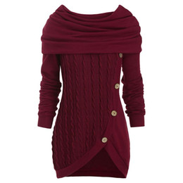 Wholesale cowl necked sweater resale online - Women Autumn Cowl Neck Cable Knit Tunic Knitwear Button Hooded Sweater Ladies Long Tops Daily Pullovers