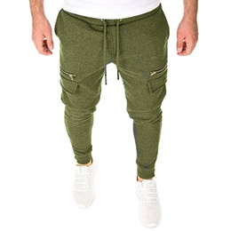 Wholesale zip up jogger for sale - Group buy Men Pants Zip Up Pockets Long Pants Men Clothing Solid Color Trousers Slim Fit Sports Sweatpants Casual Joggers