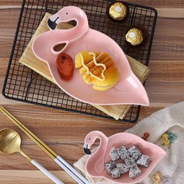 r plate Canada - Flamingo Ceramic Bowl Dish Food Container Durable Rice Fruit Salad Dessert Plate Creative Tableware Tray Hot Sale 13 55mx2 F R