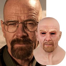 disfraces de halloween celebridades al por mayor-Movie Celebrity Latex Masking Breaking Bad Profesor Mr Blanco Disfraz Realista Halloween Cosplay Props
