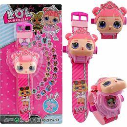 venda por atacado Boneca bonito dos desenhos animados relógio 24 padrão projeção flip relógio eletrônico crianças vestir mesa de brinquedo lol crianças brinquedos