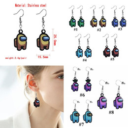 Wholesale hot anime girls resale online - Game Among Us Earrings Women Girls Cartoon Anime Cosplay Earrings Charms Hot Game Among Us Long Drop Party Valentines Day Earrings E122402