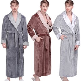 long warm robes Australia - Men Winter Extra Long Thick Thermal Bathrobe Mens Luxury Flannel Warm Kimono Bath Robe Women Sexy Fur Robes Male Soft Nightgown 201109