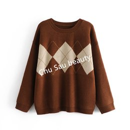 novelty jerseys Canada - Y2k Autumn Winter Korean Argyle Thi Loose Oversized O-ne Pullovers Knitted Sweaters Coat Tops Woman Jumpers Jersey Mujer