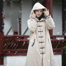 Wholesale thick long robe resale online - and Linen Lady Winter Long Hooded Jacket Quilted Windbreaker Thick Robe Buckle Large Size Chinese Cotton Coat F1536