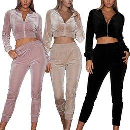 Wholesale 2pcs set sport tracksuit for sale – designer Women s Long Sleeve Sweatsuits Tracksuit Fashion Round Neck Tops Female Long Pants Jumpsuit Outfits Set Sports