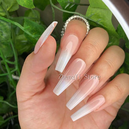 Wholesale new years nails for sale - Group buy Long Ombre Fake Nails Coffin Artificial Colored Impress False Nail Art Tips New Years Faux Ongles Wedding Decorating Fingernails