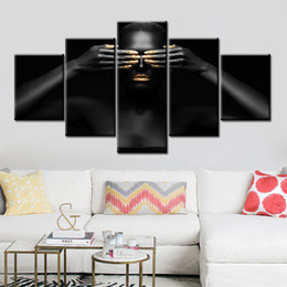 classical paintings women NZ - 5 Panel Home Decor Wall Art Canvas African Woman Painting Golden Print Posters Modular Character Picture Cuadros For Bedroom Framework