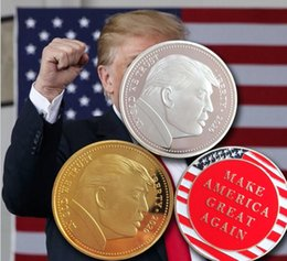 Wholesale silk male resale online - President Donald Trump Gold Plated Coin Make AMERICA GREAT Again Commemorative Coins Badge Token Craft Collection Epacket EWC2984