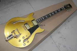 Wholesale Free Shipping New arrivals from Top Quality LP Custom Jazz Hollow Electric Guitar with Bigsby gold color @29