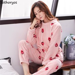 Wholesale womens matching pajamas resale online - Pajama Sets Women Winter Flannel Warm All match Simple Printed Sweet Pullover Leisure Womens Soft Pajamas Thicker Students Chic