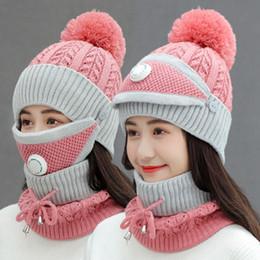 Wholesale Women Warm Wool Beanies Skullies Hats With Mask Collar 3pcs Set Knit Caps Winter Outdoor Cycling Hat Female Cap Sea Shipping DDA790