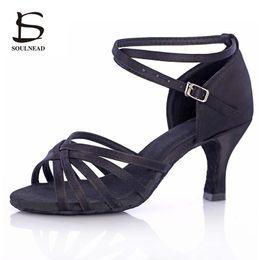 Salsa Latin Dance Shoes For Women Girls Tango Ballroom Dance Shoes High Heels soft Dancing Shoes 5/7cm Ballroom Dance Sandals 201017