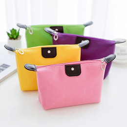 Discount designer cosmetic bags cases 2020 New Waterproof Cosmetic Bags Women Solid Color Makeup Bag Casual Pencil Case Toiletry Storage Bag Waterproof Cosmetic1