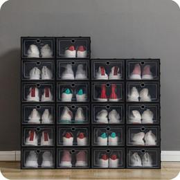Wholesale Thicken Plastic Shoe Boxes Clear Dustproof Shoe Storage Box Transparent Flip Candy Color Stackable Shoes Organizer Boxes Wholesale 0269Pack