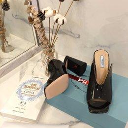 2021 new Fashion Designer Womens PVC High heels Sandals Slides Summer leather Indoor Designer Transparent Crystal Female Slipper Shoes