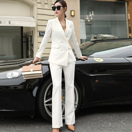 Wholesale womens business suits for sale - Group buy Womens Black White Red Business Formal Pant Suits for Women Office Ladies Double Breasted Blazer Pants Women s Work Pantsuit