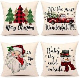 Noel Yastık Kılıfı Noel Süslemeleri Kapakları Kırmızı Siyah Ekoseler Atmak Yastık Yastık Kılıfları Xmas Ağacı Kamyon Santa Claus Kardan Adam HH9-3418