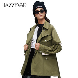 Wholesale trench coat green color resale online - JAZZEVAR New arrival autumn trench coat women green color fashion cotton double breasted short outerwear high quality9017