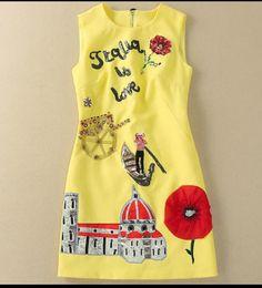 Опт 710 2020 Бренд та же стиль платье без рукавов бусины блестки экипаж шеи женские одежды флора принт розовый синий роскошный модный платье SH