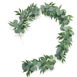 Guirnalda artificial de eucalipto con hojas de sauce 6.5 pies pies de vegetación falsa Vides Ivy Boda Decoración del hogar JK2101XB en venta