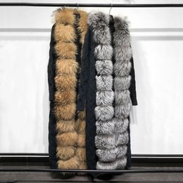 suéter mapache al por mayor-Yoloagain Winter Women Wom Wom Women Food Raccoon Real Fox Fur Fur Cardigan Suéter Longitud x1018 x1102