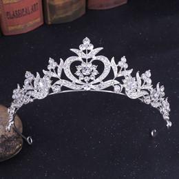 Toptan satış 2021 Yeni Vintage Barok Gelin Tiaras Aksesuarları Balo Şapkalar Çarpıcı Sheer Kristaller Düğün Tiaras ve Taçlar 1918