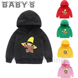 monkey sweatshirts hoodies UK - Children Hooded Hoodies Kids Curious George Monkey Cute Cartoon Sweatshirts Baby Pullover Tops Girls Boys Autumn Clothes,KMT5266 LJ201216