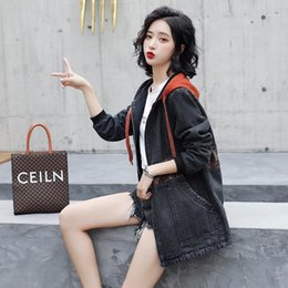 jean trench Canada - Photo Shoot Jeans Coat Female Mid-length Hooded Printed 2020 Spring New Style Loose Korean-style Versitile Fashion Trench Coat1