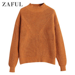 zaful großhandel-ZAFUL FOLY COLOR Drop Schulter gestrickt Pullover Pullover Casual Cottle Pullover Rundkragen Elastische Weibliche Pullover Tägliches Outfit