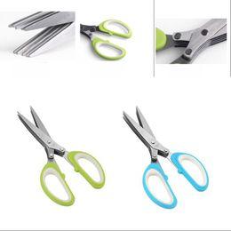 Wholesale Kitchen Accessories Scissors Multi Function Cooking Tools 5 Layers Clipper Scallion Herb Spices Scissor Household Convenient 5 5lt G2