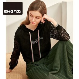 Wholesale embroidered women s jackets resale online – nMuy5 Zhenzhen spring hooded letter embroidered new top loose short Jacket s sweater Pullover sweaterlace sweater long sleeve pullover S