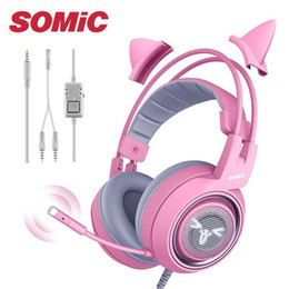 pink earphones headphones NZ - UNITOP G951S Pink Gaming Headphones 3.5mm Wired PC Stereo Headset Music Earphones For PS4 Xbox One computer laptop