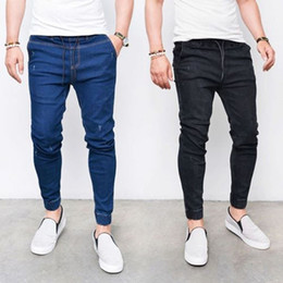 Wholesale mens skinny leg jeans for sale – denim Mens Denim Jeans Pants Bottoms Skinny Legging Elastic Waist with Pencil Jeans Men Fashion Casual Sports Softener Trousers