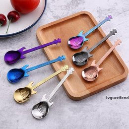 Wholesale use guitars for sale – custom Stainless Steel Guitar Coffee Spoon Teaspoon Colorful Music Bar Spoon Colors Coffee Tea Use WB1896