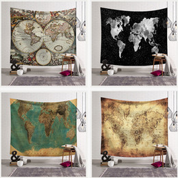 Discount cloth maps World Map Hanging Cloth Live Room Rental Room Decoration Wall Cloth Dormitory Bedroom Bedside Tapestry DHL Free