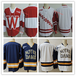 Mens Navy Notre Dame Hockey Jersey Stitched White Red Wisconsin Badgers Jersey S-3XL on Sale
