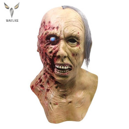 Discount zombie half face mask Waylike Halloween New Rotten Half Face Mask Horror Zombie Prank Headgear Cosplay Prank Props Haunted House Costume Party Mask