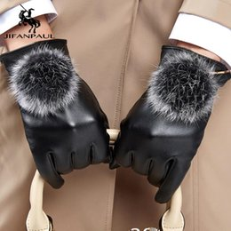 JIFANPAUL Genuine Sheepskin Leather women Gloves High Quality Full Finger Touch Screen Autumn Winter Warm Gloves free shipping on Sale