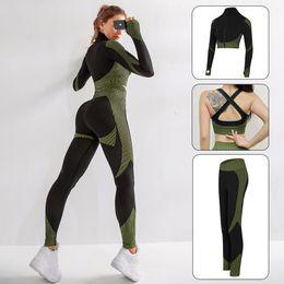 Wholesale Seamless Women Gym Set Fitness Clothes Workout Leggings Yoga Set Sport Gym Suits Wear Crop Top Long Sleeve Yoga Clothing