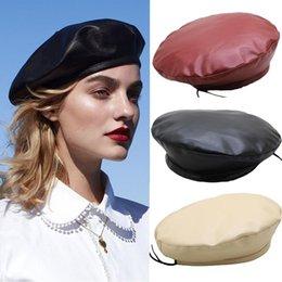 Femmes Vintage Cool cuir PU Beret Casquette Rétro artiste français Chaud Beanie Chapeaux