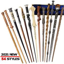 54 styles de qualité supérieure avec résine métal de base Harry Potter Wands cosplay baguette magique Collections Props sans boîte d'emballage en Solde