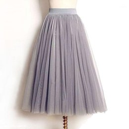 Wholesale tulle skirts for sale - Group buy Layers Tulle Skirts Women Summer Elastic High Waist Ladies long mesh Skirt Womens Tutu Maxi Pleated Skirt midi Faldas Saias1