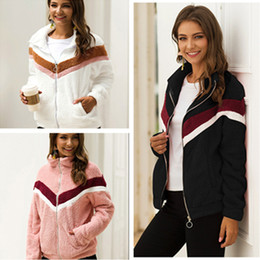 Wholesale black stripes jacket women online – oversize Warm Maternity Women Sherpa Fleece Coats Winter Turtleneck Plush Hoodies Zipper Jacket Contrast Color Stripes Top Fashion Outerwear LY1020