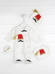 funny baby outfits UK - Baby Boy Turkey Ottoman Rompers Newborn Gentleman Jumpsuit Outfit Cotton Fabric Funny Babies Boys Suits Authentic Clothing Model 201026
