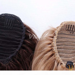 European Hair No chemical No synthetic Remy Cuticle Aligned Virgin #27 #613 Straight Drawstring Ponytail 140g Natural Color Blonde on Sale