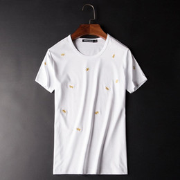 Discount mercerized cotton t shirts Great Designer Embroidery Men T-shirts 2020 Spring Summer New Mercerized Cotton Fashion O-neck Solid Short Sleeve Tees 5
